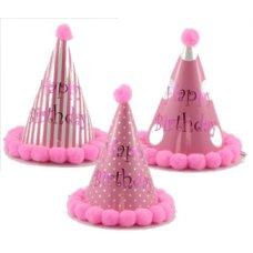 PomPom Hats Happy Birthday 200mm Pinks Astd Bag 18