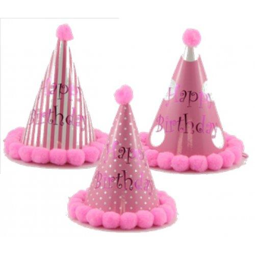 Pom Hats Happy Birthday Pinks Assorted Bag 18