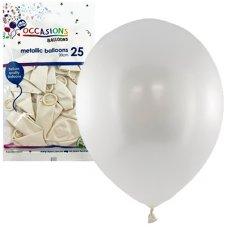Metallic White 30cm Balloons P25