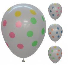 Standard White Printed Balloons Multi Polkadots P6