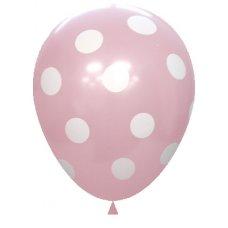 Pastel Light Pink Printed Balloons White Polkadots P6