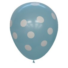 Pastel Light Blue Printed Balloons White Polkadots P6