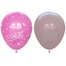 Light & Dark Pink Printed Happy Birthday Balloons P6