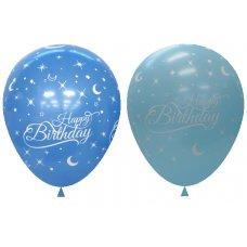Light & Dark Blue Printed Happy Birthday Balloons P6