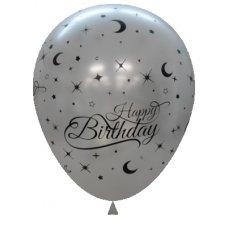 Metallic Silver Printed Happy Birthday Balloons P6