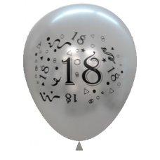 Metallic Silver 2Side Print Balloons #18 P6