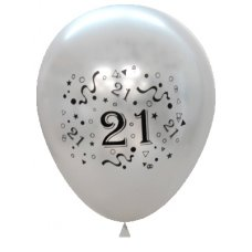 Metallic Silver 2Side Print Balloons #21 P6