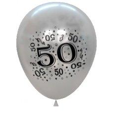 Metallic Silver 2Side Print Balloons  #50 P6