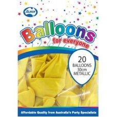 Metallic Yellow 30cm Balloons P20