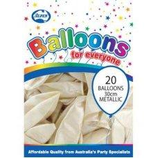 Metallic White 30cm Balloons P20