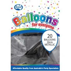 Metallic Black 30cm Balloons P20