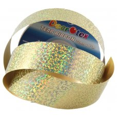 Holographic Tear Ribbon Gold 45m