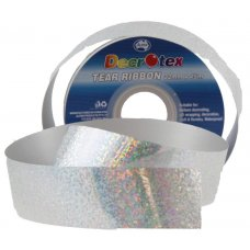 Holographic Tear Ribbon Silver 45m