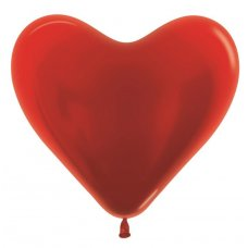 40cm Heart Metallic Red (515) Bag 10