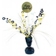 Happy Birthday Black & Gold Centrepiece Weight 165gm P1