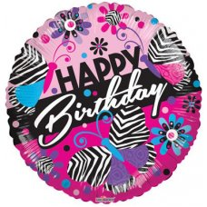 Zebra Pattern Birthday GB (15055-18) Round P1