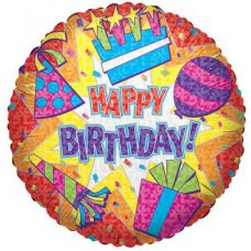Happy Birthday Colourful Burst (17607-18) Round P1