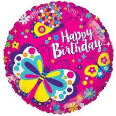 Happy Birthday Classic Butterflies (15053-18) Round P1