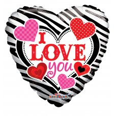 I Love You Zebra Pattern (19629-18) Heart P1