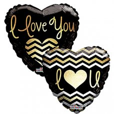 I Love You Golden Chevron (19834-18) Heart P1