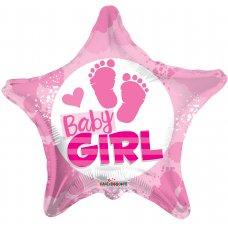Baby Girl Footprints Star (15379-18) Star P1