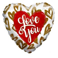 I Love You Golden Hearts Holographic(16233-18) 18