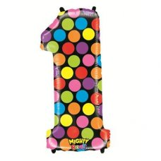 SPECIAL! Mighty Bright Polkadot Megaloon Number 1 Shaped P1