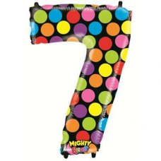 SPECIAL! Mighty Bright Polkadot Megaloon Number 7 Shaped P1