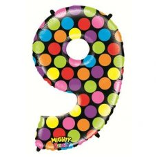 SPECIAL! Mighty Bright Polkadot Megaloon Number 9 Shaped P1