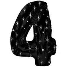 SPECIAL! Ultraloon Black & Silver Sparkle Number 4 Shaped P1