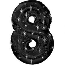 SPECIAL! Ultraloon Black & Silver Sparkle Number 8 Shaped P1