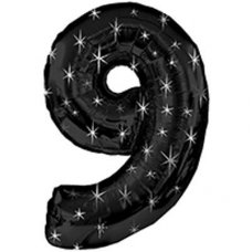 SPECIAL! Ultraloon Black & Silver Sparkle Number 9 Shaped P1
