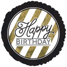 Happy Birthday Black & Gold Glitter (318099HP) Round P1