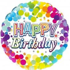 Colourful Confetti Happy Birthday (Oaktree 226911) Round P1