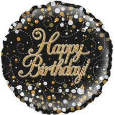 Sparkling Fizz Black & Gold Birthday Oaktree227215 Round P1