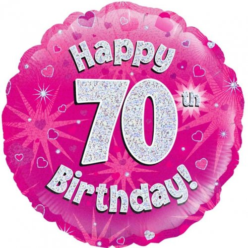Pink Holographic Happy 70th Bday Oaktree 227765 Round P1