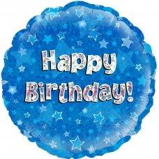 Blue Holographic Happy Birthday (Oaktree 227802) Round P1