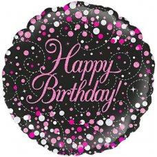 Sparkling Fizz Black & Pink Happy Birthday 226768 Round P1