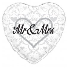 Mr & Mrs Silver Filigree (Oaktree 228526) Heart P1