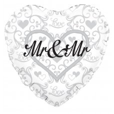 Mr & Mr Silver Filigree (Oaktree 229202) Heart P1