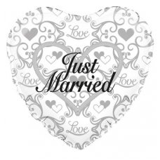 Just Married Silver Filigree (Oaktree 229233) Heart P1
