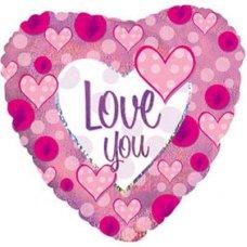 Love You Pink Polka Dot (214704HP) Heart H P1