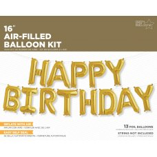 Gold 16in KIT Happy Birthday (01299-01) Air Fill Shaped Kit