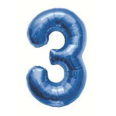 Blue 34in Number 3 (00127-127) Shaped P1