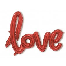 Red Script Word LOVE Shaped P1