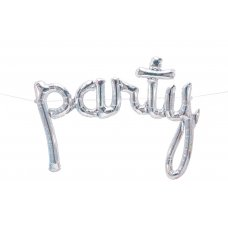 Script Word Holographic Silver PARTY (01334-01) Shaped P1