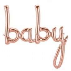 Rose Gold 46in Script BABY (01408-01) Shaped P1