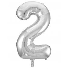 34inch Decrotex Foil Balloon Numeral Silver #2 Shaped P1