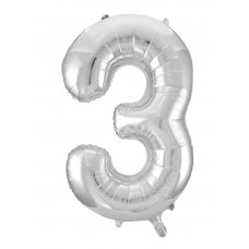 34inch Decrotex Foil Balloon Numeral Silver #3 Shaped P1