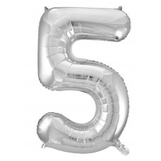 34inch Decrotex Foil Balloon Numeral Silver #5 Shaped P1